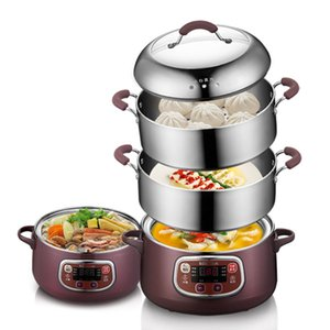 Nueva vaporera eléctrica de 2 capas Vaporera de acero inoxidable multifuncional antiseco para el desayuno multifuncional apta para el hogar 220V