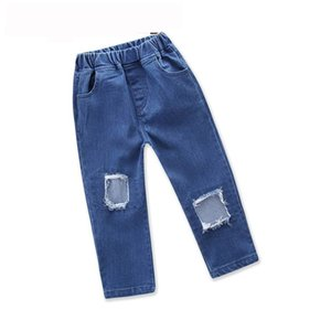 Vendita al dettaglio Primavera Autunno Neonata Jeans Moda Nappe Foro Stivale Taglio Denim Pantaloni Pantaloni lunghi Vestiti per bambini 1-5Y E18614