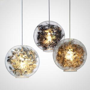 تشابك غلوب أدى قلادة ضوء بريقا الزجاج خزان الأسماك الصلب زهرة الثريا تركيبات hanglamp لامبارا داخلي