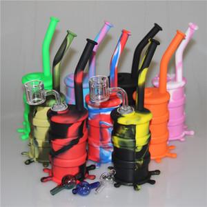 Silicon Hookah Oil Drum Rigs Mini Silicone Rigs Water Bongs Tubi con doppio tubo al quarzo banger e carpa di vetro