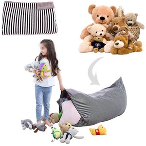Striped Velvet Storage Bag Kids plush Toys big Buggy Bag 76x127cm portable Packing Bag Multifuction Cushion cover pillow case household prop