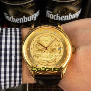 Cheap Metiers D'art Date 3D Gold Dragon Pattern Emboss Giappone Miyota 8215 Automatic Mens Watch 18K oro giallo Cassa cinturino in pelle Orologi