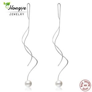 Hongye 2018 Nouvelle Mode Élégant Perles D'eau Douce Drop Boucles D'oreilles Spirale Long Unique Boucle D'oreille Pendantes Pour Les Femmes Pendientes de borla