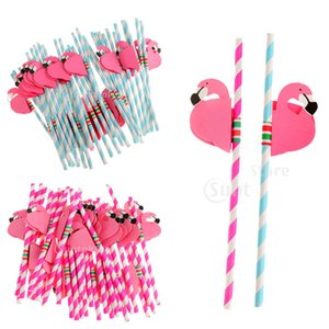 Nouveau design 25pcs Flamingo rayé Straws Luau Beach Party Tropical Barware Favor Xman Wedding Party Cocktail Fournitures Décor cadeau Accès