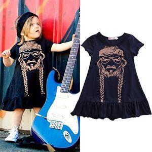 Kızlar Elbise Örgü Baskılı Çocuklar Rahat Ruffled Elbiseler Ülke Nelson Örgü Pamuk Diz boyu Kısa Kollu 2-6 T