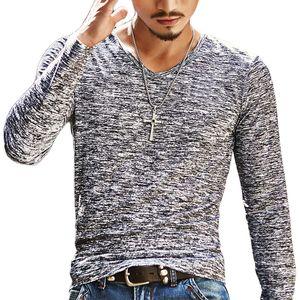 Trendy Frühling Männer Basic T-Shirt Langarm Polyester Slim Casual Männer Tops Stretch Pullover T Chemise Homme Markenkleidung