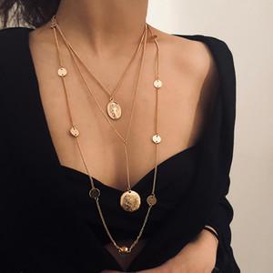 Bijoux punk en alliage exagéré multicouche sautoir ms paillettes vintage le pendentif en alliage vierge collier collier