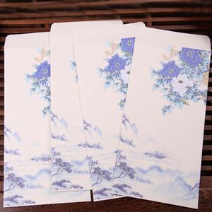 10 adet / grup için Çin Tarzı Iş Zarf Davetiye Çiçek Baskılı Craft Kağıt Zarflar Düğün Kağıt El-boyalı Mürekkep Çantası