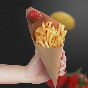 500pcs lot French Fries Box Cone Chips Oil Proof Bag Chips Cup Party Take-out Disposable Food Paper Package