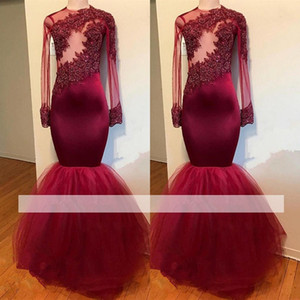 Burgundy 2018 Cheap Prom Dresses Mermaid Long Sleeves Tulle Lace Beaded Applique Party Gown Sexy Plus Size Evening Dresses Robe De Soiree