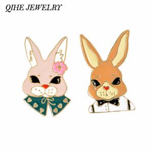 QIHE Schmuck Hartemail Pin Frau Kaninchen Mr Kaninchen Bunny Brosche Kaninchen Schmuck Kawaii Zubehör Tierliebhaber Geschenk