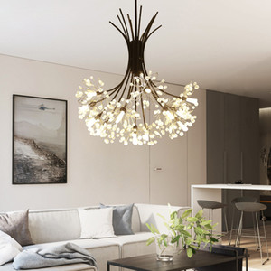 Nordic Loft Art Crystal Одуванчик Люстра Современная Теплая Спальня Гостиная Кафе G4 Led Подвесные Светильники Бесплатная Доставка