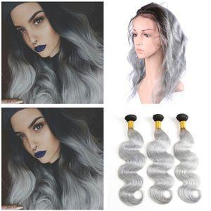 Brasileño Ombre Silver Grey Virgin Hair 3Bundles con 360 Lace Frontal 22.5x4x2 Body Wave # 1B / Grey Ombre Hair Weaves con 360 frontales