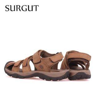 SURGUT neuen Qualitäts-Männer echtes Leder-Sandalen Breathable bequeme Cozy Sommer-Schuhe arbeiten flachen Male Sandalen