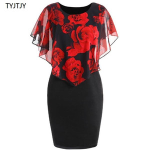S-5XL Plus Size Rose Valentine Overlay Capelet Dress 2018 Summer O-Neck Short Sleeve Women Party Bodycon Dresses Vestidos Robe Y1890602