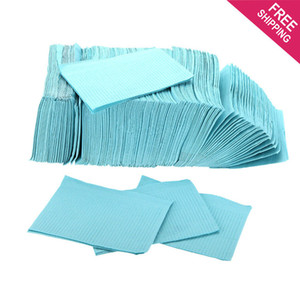 Disposable Waterproof Barrier Sheet Bibs Tattoo Cleaning Wipes Piercing Dental Bibs 2-ply paper + 1-ply poly 13*18 Inch Blue Color 125PCS