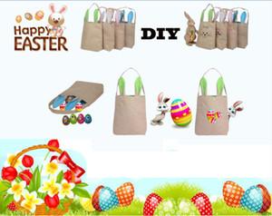 Yeni 14 stilleri Paskalya Bunny Kulak Çantaları DIY Nakış Pamuk Keten Sepet Çanta Paskalya Hediye Ambalaj Çocuklar Için Çanta Tote çanta