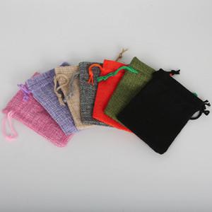 Yeni 7x9 cm 50 adet / grup Pick 7 Renkler Keten Pamuk Takı Ambalaj Düğün Hediye İpli Çanta Torbalar Küçük Hediye Çanta Noel Hediyesi