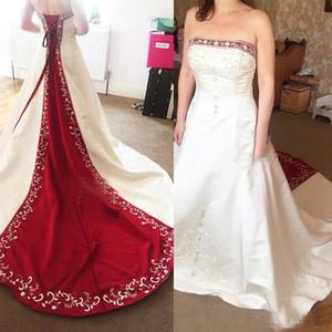 Vintage rosso e bianco Raso Abiti da sposa Linea 2.018 Reale Immagine Plus Size ricamo in rilievo Abiti da sposa Per Garden abito da sposa Paese