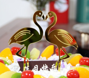 2 pcs set Kawaii Flamingos Cake Topper Acrylic Cake Insert Card Round Cake Topppers For Birthday Wedding Party Supply