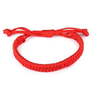 Pulsera de las muchachas 100 PCS Lucky China Rope Red Beads National Style Kabbalah String Braided Friendship Pulseras ajustables