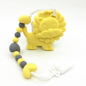 NEW BPA Free Food Grade Silicone Baby Teether giocattolo Dentizione collana Ciuccio Clip con pendente grande leone all'ingrosso