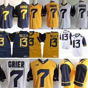 WVU West Virginia Alpinistas # 7 Will Grier 13 David Sills V Limitada XII NCAA Camisolas de Futebol Da Faculdade Costurado S-3XL
