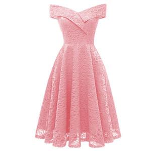 Femme bordado Vintage Lace Dress mujeres de los vestidos del hombro de manga corta ocasional de noche Party A Line Plus tamaño vestido