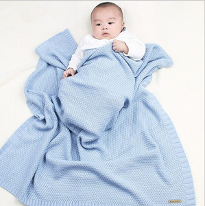Newborns Acrylic Knitted Swaddle Wrap Muslin Blankets Super Soft Toddler Winter Sleeping Bedding Carseat Cover Baby Bunny Quilt