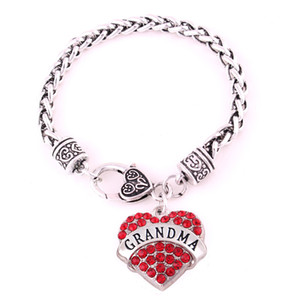 Fashion 2018 Women Bracelet GRANDMA Written In Heart Pendant Present For Grandmother With Beautiful Crystals Zinc Alloy Dropshipping