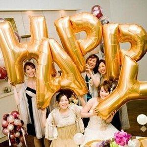 Z seçimine Alfabe folyo balonlar Yıldönümü Parti süsleri 40 inç mektup Parti malzemeleri Altın / Simli renkli bir