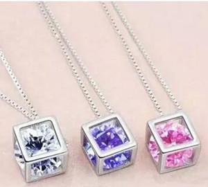 Moda 925 collar de cadena de plata esterlina Austria CZ Diamond Crystal Love Magic Cube forma cuadrada collar colgante para las mujeres 30 unids