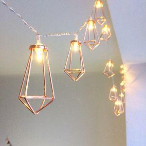 Retro Demir Metal Elmas LED Peri Dize Işıklar Pil Noel Tatil Düğün Ev Dekorasyon 10 Leds Fener Dize Lambaları