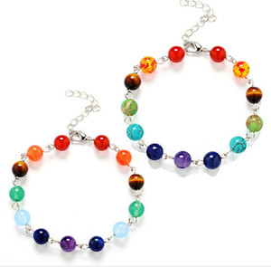 JLN Healing Stone Yoga Bracelet Good Plating Handmade Seven Chakra Amethyst Lapis Turquoise Jasper Amber Bracelets For Man And Woman Gift