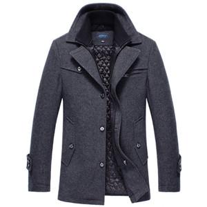 2018 caliente del invierno de los hombres de la capa ocasional de lana gruesa chaqueta de los hombres rompevientos Sección largo abrigo grueso Chaquetón de lana capa de foso 4XL