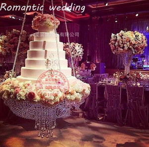 Round D60 Crystal Chandelier Cake Stand Hanging With Crystal Beaded Cake Table For Wedding Party birthday decoration