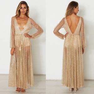 Dame soirée longue robe avec robe maxi or strass manches longues maille sexy profonde v-cou vêtements