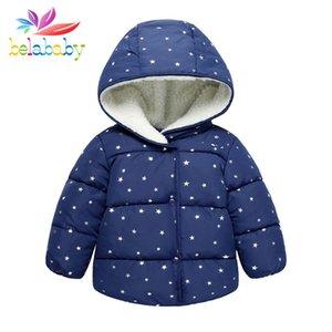 Belababy Girl Jacket 2017 New Windproof Polka Dot addensare cappotto di cotone per bambini Autunno Inverno Stars Warm Abbigliamento esterno per bambini