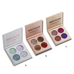NUOVA Bellezza di trucco calda Lustrato 4 colori pressati Glitter Eyeshadow Palette Shimmer Luminoso Maquiagem Duraturo spedizione DHL