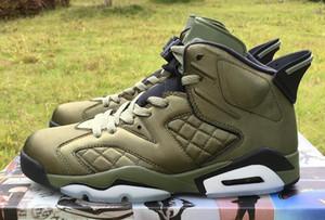 جودة عالية 6 رحلات طيران القمة السبت ليلة لايف الجيش الأخضر أحذية كرة السلة الرجال 6 ثانية نايلون الجيش الأخضر أحذية مع صندوق