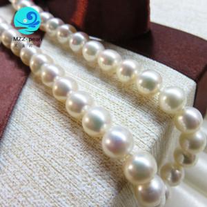 simples colar de 8-9mm culta branco off colar de pérola redonda, costa de pérolas cultivadas Natural design clássico