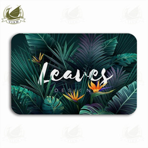 Vixm Bright Tropical Background With Jungle Plants Palm Leaves Welcome Door Mat Rugs Flannel Anti-slip Entrance Indoor Kitchen Bath Carpet