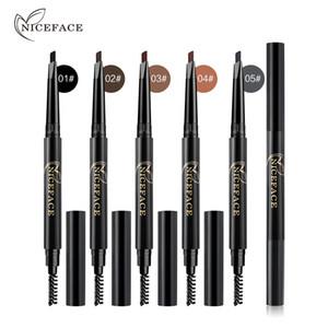 NICEFACE Eyebrow Kit ماركة المكياج صبغات بني أسود اللون طويلة الأمد للماء ماكياج العين الحاجب مع فرشاة E17017