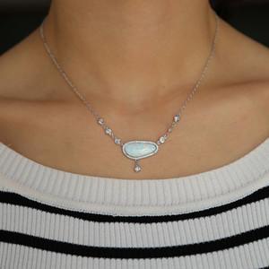 Moda Jóias Alta Qualidade Grande Fogo Branco Opala Gemstone Europeia Venda Quente Luxo Vintage Moderno Jóias Colar para Presente Senhoras