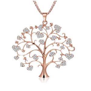 Новый Дизайн Творческий Sweet Heart Shaped Life Tree Ожерелье Простой Высокое Качество Горного Хрусталя Сплава Ожерелье Ювелирные Изделия Подарки
