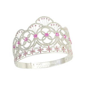 Couronne Mlle Teen USA Couleur rose CZ Pierre Strass Cristal Réglable Bandeau De Mariée Bijoux De Cheveux Diadèmes Concours Reine Couronne Mo237
