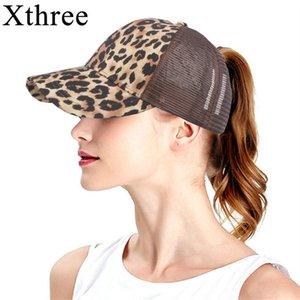 Xthree Leopar Kadınlar Dağınık Bun Casual Hip Hop çekin geri Gorras Hombre şapkalar için Yaz Beyzbol şapkası Mesh Şapka Baskı