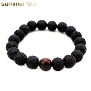Hochwertige Lavagestein empfindliche Naturstein Perlen Armband für Männer Liebhaber einstellbare Größe Bodhi Perlen Armband Schmuck Geschenk