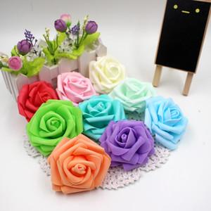 100pcs / lot 6 cm Mousse Artificielle Rose Fleurs Tête Pour Décoration De Voiture De Mariage DIY Guirlande Décorative Floristry Faux Fleurs