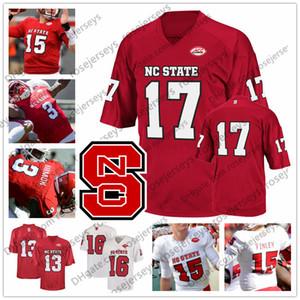 Personnalisé NC State Wolfpack 2019 Football Blanc Rouge 13 Devin Leary 7 Matthew McKay 3 Kelvin Harmon 15 Ryan Finley Men Youth Jersey
